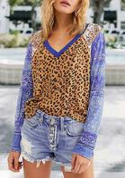 Bellelily coupon: Leopard Splicing Paisley Floral V-Neck Blouse