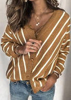 Bellelily coupon: Striped Splicing Button V-Neck Knitted Sweater - Khaki