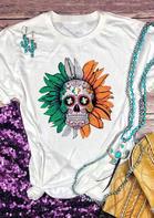 Day Of The Dead Sunflower Lucky Shamrock Skull T-Shirt
