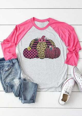 Leopard Flower Striped Polka Dot Pumpkin T-Shirt Tee - Gray