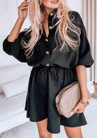 Button Drawstring Elastic Cuff Casual Mini Dress