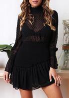 Ruffled Mesh Splicing See-Through Mini Dress