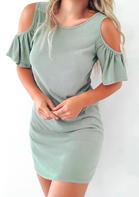 Hollow Out Criss-Cross Ruffled Mini Dress