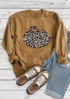 Thanksgiving Leopard Pumpkin O-Neck Sweatshirt