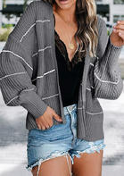 Striped Batwing Sleeve Knitted Cardigan