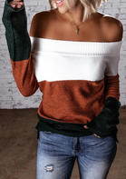 Color Block Off Shoulder Knitted Sweater