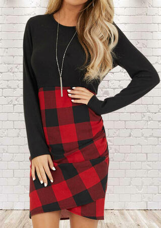 Buffalo Plaid Splicing Ruched Long Sleeve Bodycon Dress