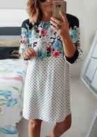 Polka Dot Floral Splicing O-Neck Mini Dress