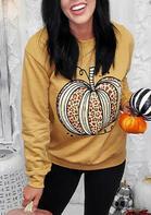 Thanksgiving Leopard Striped Pumpkin Sweatshirt