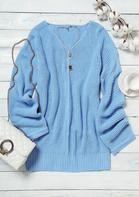 V-Neck Knitted Long Sleeve Mini Sweater Dress