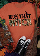 Halloween 100% That Witch Hat Leopard Letter T-Shirt