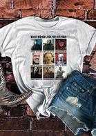 Halloween Horror Movie Graphic O-Neck T-Shirt