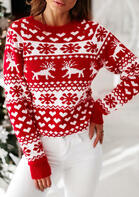 Christmas Reindeer Snowflake Heart Knitted Sweater