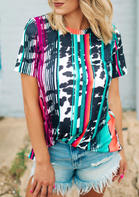 Colorful Striped Leopard O-Neck T-Shirt Tee