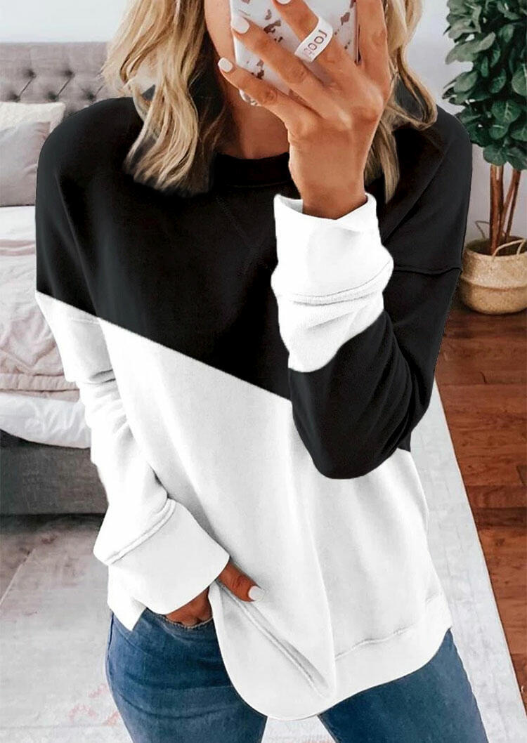 Color Block Long Sleeve Sweatshirt - Gray