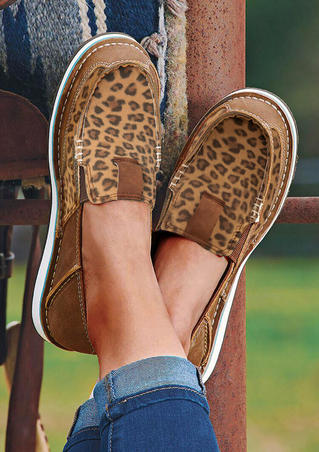 Leopard Splicing Flat Canvas Sneakers