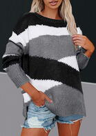 Bellelily coupon: Color Block Slit Knitted Sweater - Gray