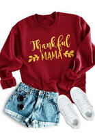 Thanksgiving Thankful Mama Pullover Sweatshirt
