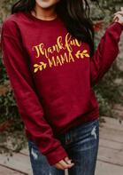 Bellelily coupon: Thanksgiving Thankful Mama Pullover Sweatshirt - Burgundy