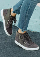 Zipper Lace Up Flat Sneakers
