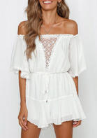 Lace Splicing Drawstring Tie Romper