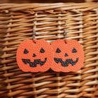Halloween Pumpkin Witch Hat PU Leather Earrings