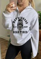 Halloween Skull Leopard Motherhood Zipper Collar Sweatshirt