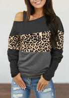 Leopard Splicing Cold Shoulder Blouse