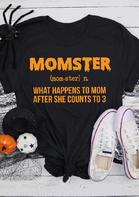 Halloween Momster Letter O-Neck T-Shirt