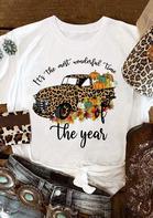 Thanksgiving Leopard Truck Pumpkin Maple Leaf Letter T-Shirt