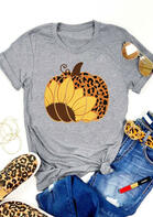 Sunflower Leopard Pumpkin O-Neck T-Shirt