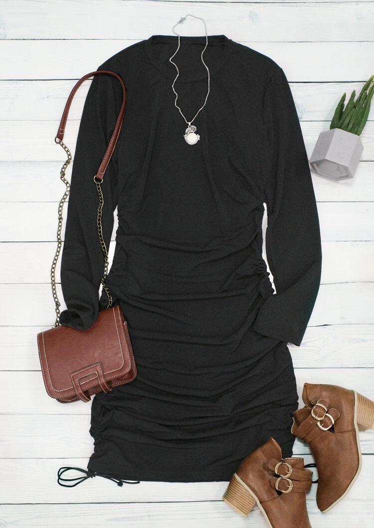 Ruched Drawstring Long Sleeve Bodycon Dress - Black