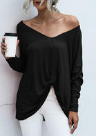 V-Neck Ruffled Asymmetric Blouse - Black
