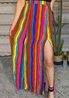 Western Serape Striped Slit Long Skirt