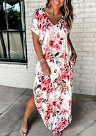 Presale - Floral Asymmetric Slit Maxi Dress - White