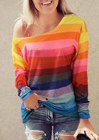 Colorful Striped Long Sleeve Slash-Neck Blouse