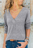 Bellelily coupon: Long Sleeve V-Neck Casual Blouse - Gray