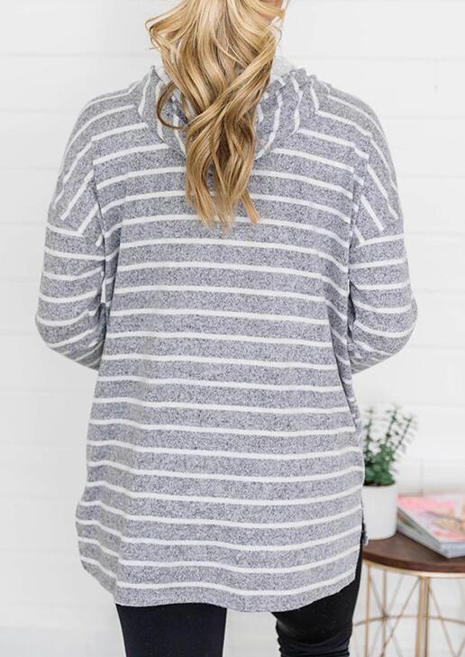 Striped Drawstring Slit Loose Hoodie - Light Grey