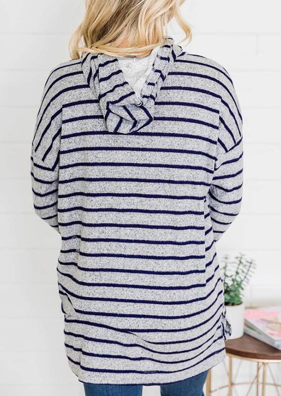 Striped Drawstring Slit Loose Hoodie - Dark Grey