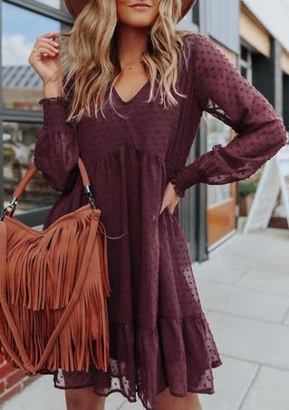 Ruffled Dotted Long Sleeve V-Neck Mini Dress - Burgundy
