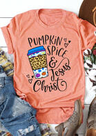 Pumpkin Spice & Jesus Christ Leopard Heart Drink T-Shirt