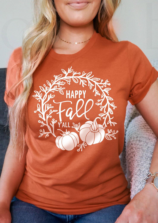 Happy Fall Pumpkin T-Shirt Tee - Orange
