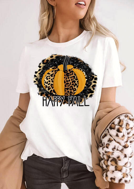 Happy Fall Leopard Pumpkin T-Shirt Tee - White