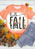 Hello Fall Maple Leaf Bleached T-Shirt