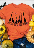 Bellelily coupon: Halloween Witches Gotta Have Options T-Shirt Tee - Orange