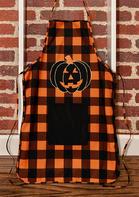Halloween Plaid Pumpkin Face Pocket Apron