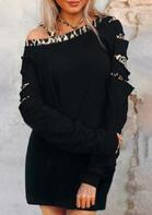 Leopard Splicing One Sided Cold Shoulder Mini Dress