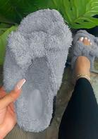 Winter Warm Plush Bowknot Flat Slippers