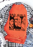 Bellelily coupon: Halloween Bad Girls Have More Fun T-Shirt Tee - Orange