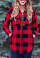 Buffalo Plaid Pocket Zipper Asymmetric Hooded Coat